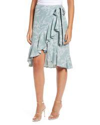 English Factory Green Ruffle Wrap Skirt