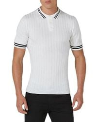 Topman - White Muscle Fit Rib Knit Polo for Men - Lyst