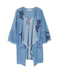 BILLY T Blue Embroidered Drape Front Chambray Cardigan