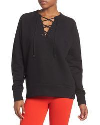 Zella - Black Lace-up Pullover - Lyst