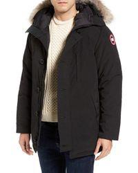 Canada Goose | Black 'chateau' Slim Fit Genuine Coyote Fur Trim Jacket for Men | Lyst