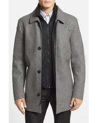 Vince Camuto - Gray Melton Car Coat With Removable Bib for Men - Lyst