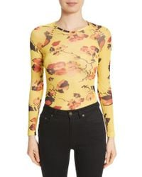Molly Goddard - Yellow Spike Floral Mesh Top - Lyst