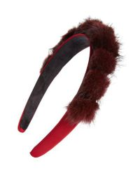 Tasha - Purple Genuine Mink Pom Headband - Lyst