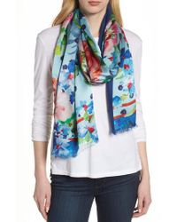 Echo - Blue Springtime Double-face Silk Scarf - Lyst