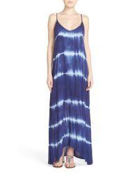 Fraiche By J - Blue Border Print Crepe A-line Maxi Dress - Lyst