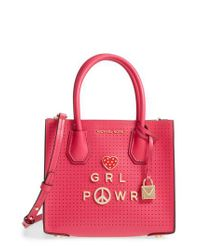Michael Kors | Pink Michael Small Mercer Messenger Leather Tote | Lyst