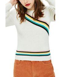 TOPSHOP - Yellow Chevron Fine Gauge Sweater - Lyst