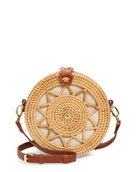 Sole Society Natural Eryn Circle Straw Crossbody Bag