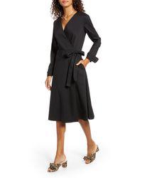 1901 Black Poplin Long Sleeve Wrap Dress