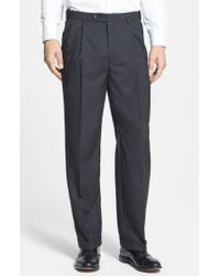 Berle - Gray Self Sizer Waist Pleated Trousers for Men - Lyst