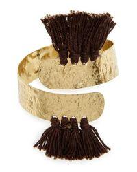 Nakamol - Gray Aiu Hammered Tassel Cuff Bracelet - Lyst