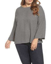Vince Camuto Black Bell Sleeve Diagonal Stripe Blouse