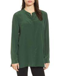 Eileen Fisher - Blue Silk Shirt - Lyst