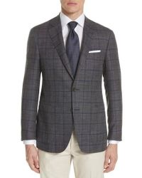 Canali - Brown Kei Classic Fit Windowpane Wool Blend Sport Coat for Men - Lyst
