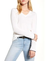 1901 White V-neck Merino Wool Blend Sweater