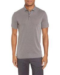 Ted Baker | Gray Osborn Woven Collar Polo for Men | Lyst