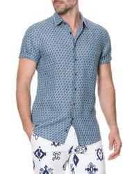 Rodd & Gunn Blue York Bay Slim Fit Print Linen Sport Shirt for men