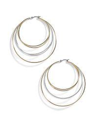 BaubleBar Metallic Rielle Mixed Metal Hoop Earrings