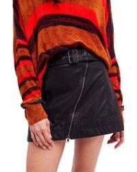 Free People   Black Feelin' Fresh Faux Leather Moto Skirt   Lyst
