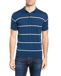 John Smedley - Blue Stripe Jersey Polo for Men - Lyst