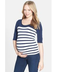Tees by Tina | Blue 'st. Barts' Ballet Sleeve Maternity Top | Lyst