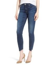 7 For All Mankind Blue 7 For All Mankind B(air) Spliced Hem Ankle Skinny Jeans