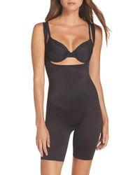 Tc Fine Intimates Black Torsette Underbust Mid Thigh Bodysuit Shaper