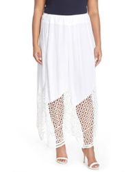 XCVI White Xcvi 'Lauryn' Lace Border Midi Skirt