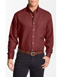Cutter & Buck Red 'nailshead - Epic Easy Care' Classic Fit Sport Shirt for men