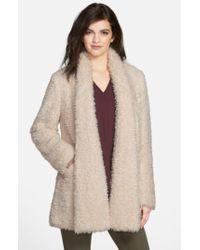 Kenneth Cole | Natural 'teddy Bear' Faux Fur Clutch Coat | Lyst