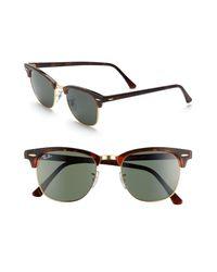 Ray-Ban Classic Clubmaster 51mm Sunglasses - Dark Tortoise/ Green for men