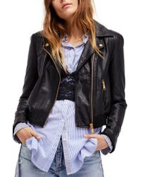 Free People - Black Modern Faux Leather Bomber Jacket - Lyst