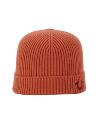 True Religion Red Rib Knit Cap for men