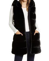 Via Spiga Black Grooved Faux Fur Hooded Vest