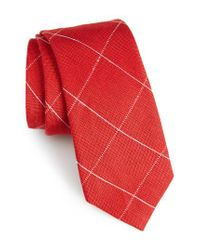 Calibrate - Red Candler Grid Linen & Silk Tie for Men - Lyst