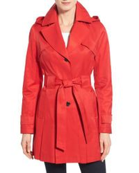 Via Spiga | Red 'scarpa' Hooded Single Breasted Trench Coat | Lyst