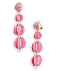 Oscar de la Renta - Pink Beaded Drop Earrings - Lyst