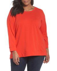Eileen Fisher Red Organic Jersey Side Zip Top