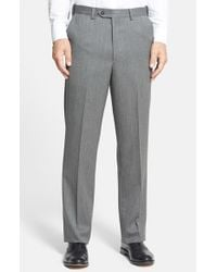 Berle | Gray Self Sizer Waist Flat Front Wool Gabardine Trousers for Men | Lyst