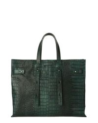 Orciani - Green Petra Croc-embossed Calfskin Leather Tote - Lyst