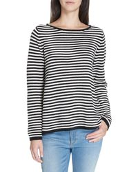Eileen Fisher Black Striped Organic Cotton Sweater
