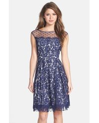 Eliza J   Blue Illusion Yoke Lace Fit & Flare Dress   Lyst