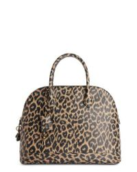 Balenciaga - Brown Medium Leopard Print Leather Satchel With Water-repellent Coat - Lyst
