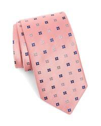 Eton of Sweden Pink Geometric Silk Tie for men