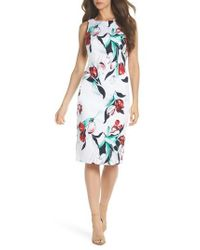 Adrianna Papell Blue Dynasty Floral Print Stretch Sheath Dress