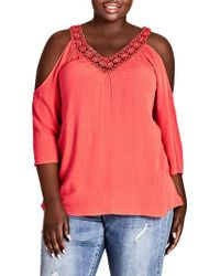 City Chic Pink Conchita Cold Shoulder Top