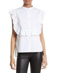 Helmut Lang White Ruffle Bib Cotton Shirt