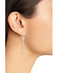 Melinda Maria Metallic Safety Pin Stiletto Drop Earrings
