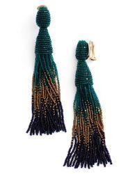 Oscar de la Renta | Green Ombre Long Tassel Clip Earrings | Lyst